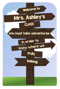 "Welcome Sign for ""Rustic Themed"" Classroom"