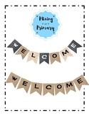 Welcome Sign in Burlap, Denim and Lace options