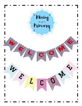 Welcome Sign with Chevron Background