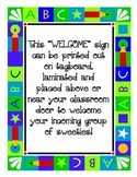 Welcome Sign with Colorful ABC Border