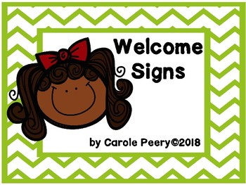 Welcome Signs Green Chevron