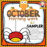 Morning Work for Kindergarten and First Grade {October Themed, SAMPLER}