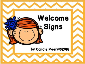 Welcome Signs Orange Chevron