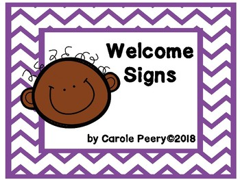 Welcome Signs Purple Chevron