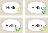 Welcome Signs and Editable Name Tag Labels - Natural with Watercolour
