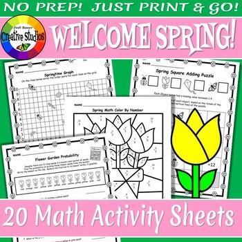 Welcome Spring! Math Activity Sheets - No Prep!