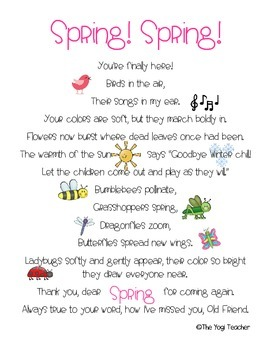 Welcome Spring Poem and Poster