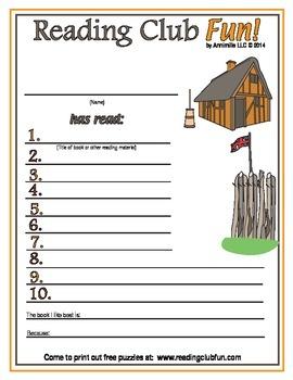 Jamestown Settlement Reading Log and Certificate