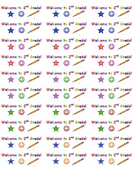 Welcome Stickers for 2nd Grade