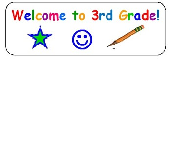 Welcome Stickers for 3rd Grade