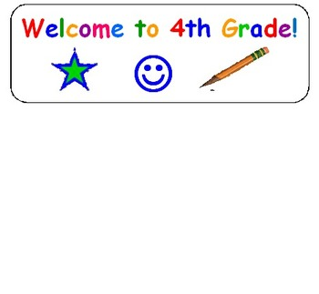 Welcome Stickers for 4th Grade