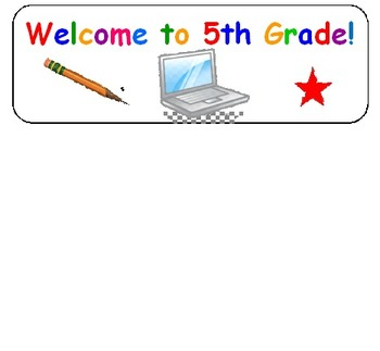 Welcome Stickers for 5th Grade