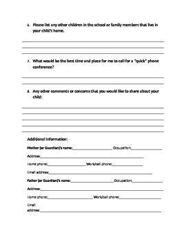 Welcome To 4th Grade Information Sheet