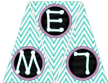 Welcome To Fifth Grade Pennant Banner [Teal Chevron W/ Purple]