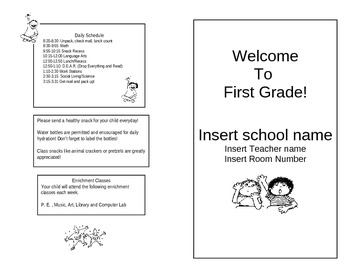 Welcome To First Grade Pamphlet