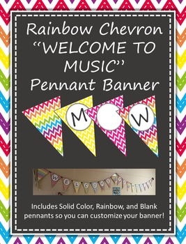 Welcome To Music Pennant Banners - Rainbow Chevron Chalkbo