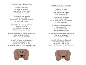 Welcome To Our 3rd Grade Poems (dog theme)