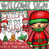 Welcome To Our Classroom Door Sign Bulletin Board Display Christmas Editable