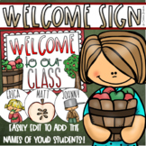 Welcome To Our Classroom Door Sign Display Apple Theme Editable