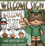 Welcome To Our Classroom Door Sign Display Camping Camp Out Theme Editable