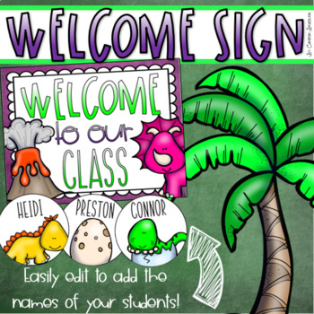 Welcome To Our Classroom Door Sign Display Dinosaur Dino Theme Editable