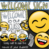 Welcome To Our Classroom Door Sign Display Emoji Happy Face Theme Editable