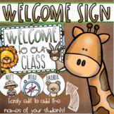 Welcome To Our Classroom Door Sign Display Jungle Safari Theme Editable