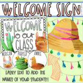 Welcome To Our Classroom Door Sign Display Llama and Cactus Theme Editable