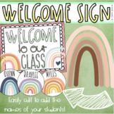 Welcome To Our Classroom Door Sign Display Modern Boho Rainbow Theme Editable
