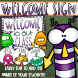 Welcome To Our Classroom Door Sign Display Monster Theme Editable