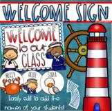 Welcome To Our Classroom Door Sign Display Nautical Sailing Sea Theme Editable
