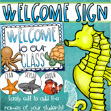 Welcome To Our Classroom Door Sign Display Ocean Under the Sea Theme Editable