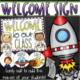Welcome To Our Classroom Door Sign Display Outer Space Theme Editable
