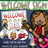 Welcome To Our Classroom Door Sign Display Rockstar Music Theme Editable
