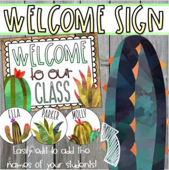 Welcome To Our Classroom Door Sign Display Rustic Farmhouse Shabby Chic Editable