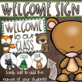 Welcome To Our Classroom Door Sign Display Woodland Animals Theme Editable