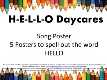 Back To School Hello Daycares Song and Letter Posters