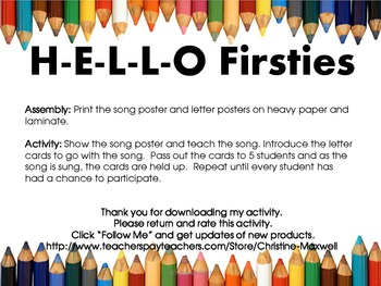 Back To School Hello Firsties Song and Letter Posters