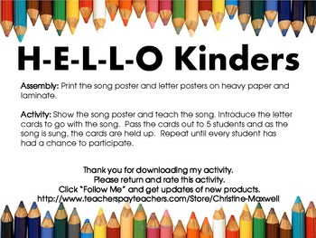 Back To School Hello Kinders Song and Letter Posters