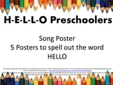 Back To School Hello Preschoolers Song and Letter Posters