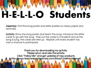 Back To School Hello Students Song and Letter Posters