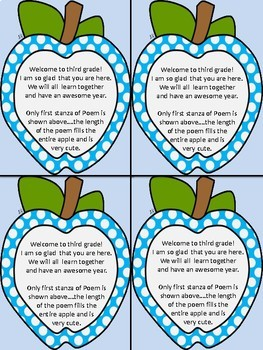Welcome To Third Grade Notes Dotted Apple for Beginning of School Year