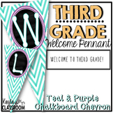 Welcome To Third Grade Pennant Banner [Teal Chevron W/ Purple]