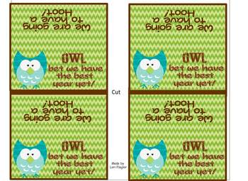 Owl Theme- Welcome Treat Bag Toppers
