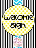 Welcome - Turquoise, Yellow, Black