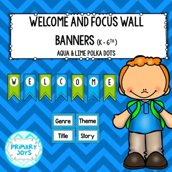 Welcome and Focus Wall Banners {aqua and lime polka dots}