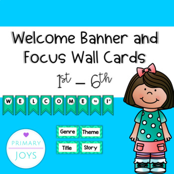 Welcome and Focus Wall Banners - turquoise chevron