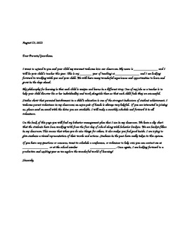 Welcome back Letter template