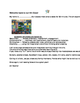 Classroom management: Welcome back to Art Class letter