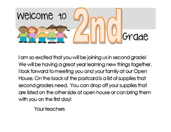Welcome back to school postcard and supply list